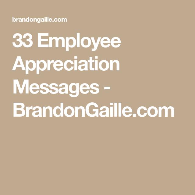 Employee Appreciation Messages  Appreciation Message Employee