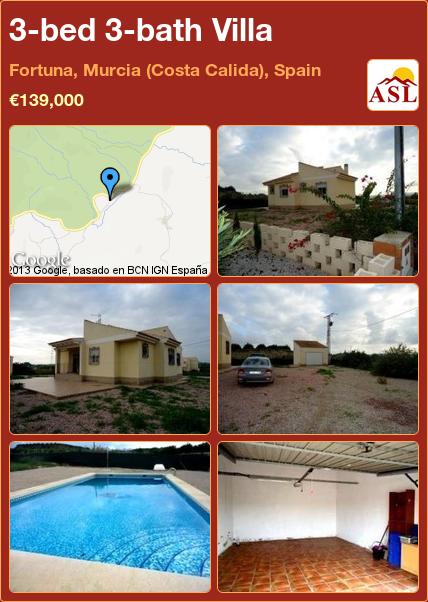 3-bed 3-bath Villa in Fortuna, Murcia (Costa Calida), Spain ►€139,000 #PropertyForSaleInSpain
