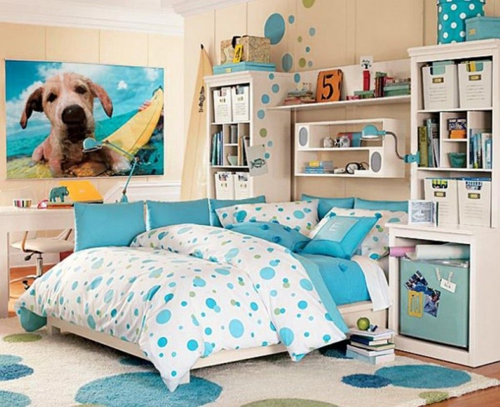 Girls Bedroom Ideas Blue And Green. Lovely Teenage Girls Bedroom Design Idea With Blue White Polka Dots Motif  On Comforter And Rug Also Study Desk Shelf Unit Cute Puppy Picture Teen Room Attractive Light Bedding