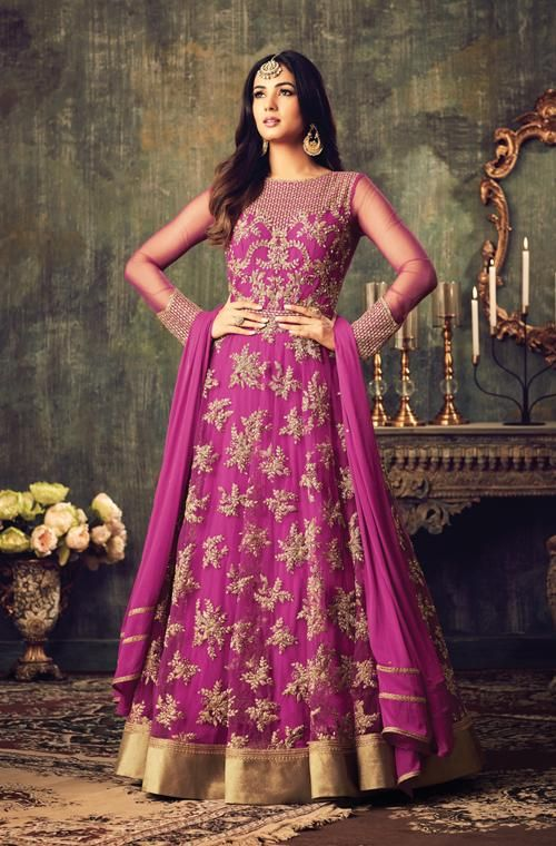 Dark Magenta Designer Heavy Embroidered Net Anarkali Suit | Noche y Años