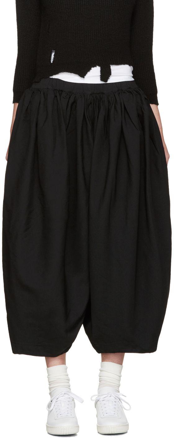 Comme des Garçons: Black Voluminous Pleated Trousers | SSENSE