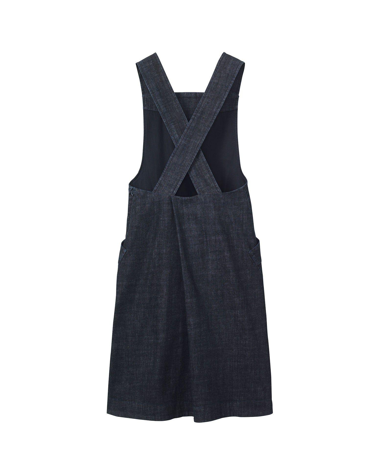 White apron pinafore - Denim Emmet Dress Pinafore Front Dress In Deep Indigo Dyed Denim
