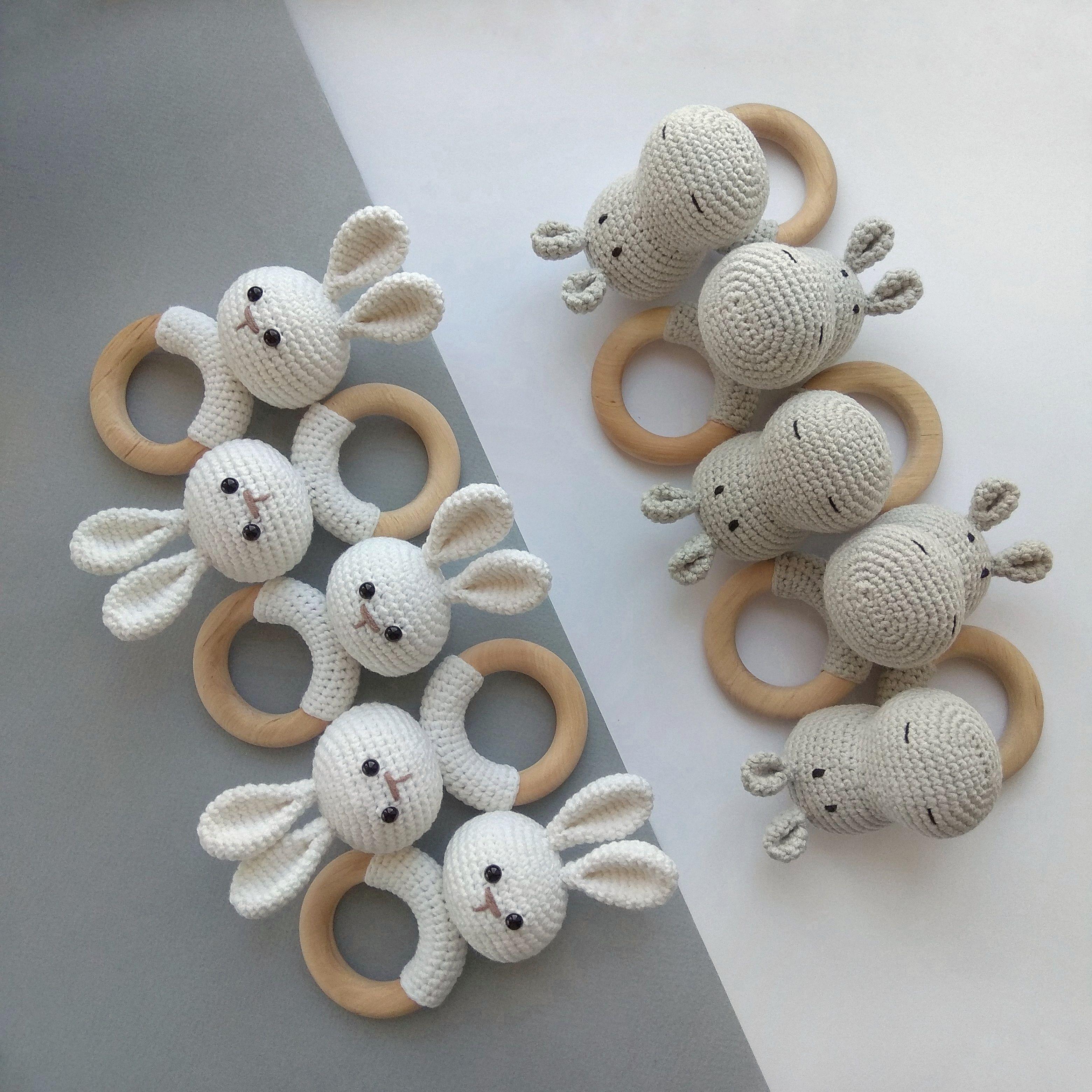 Photo of Panda Giraffe Hippo rattle Safari animals Crochet Baby gift Newborn gift Organic eco animal decor