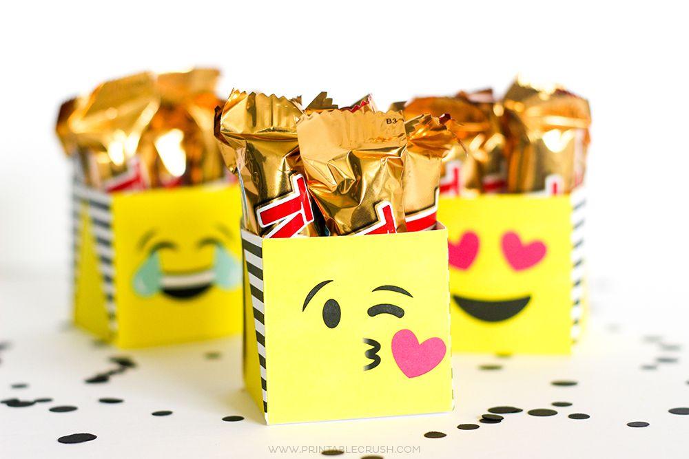 Emoji Gifts Package Them Using My Free Printable Emoji Gift Boxes Emoji Gifts Emoji Party Halloween Printables Free