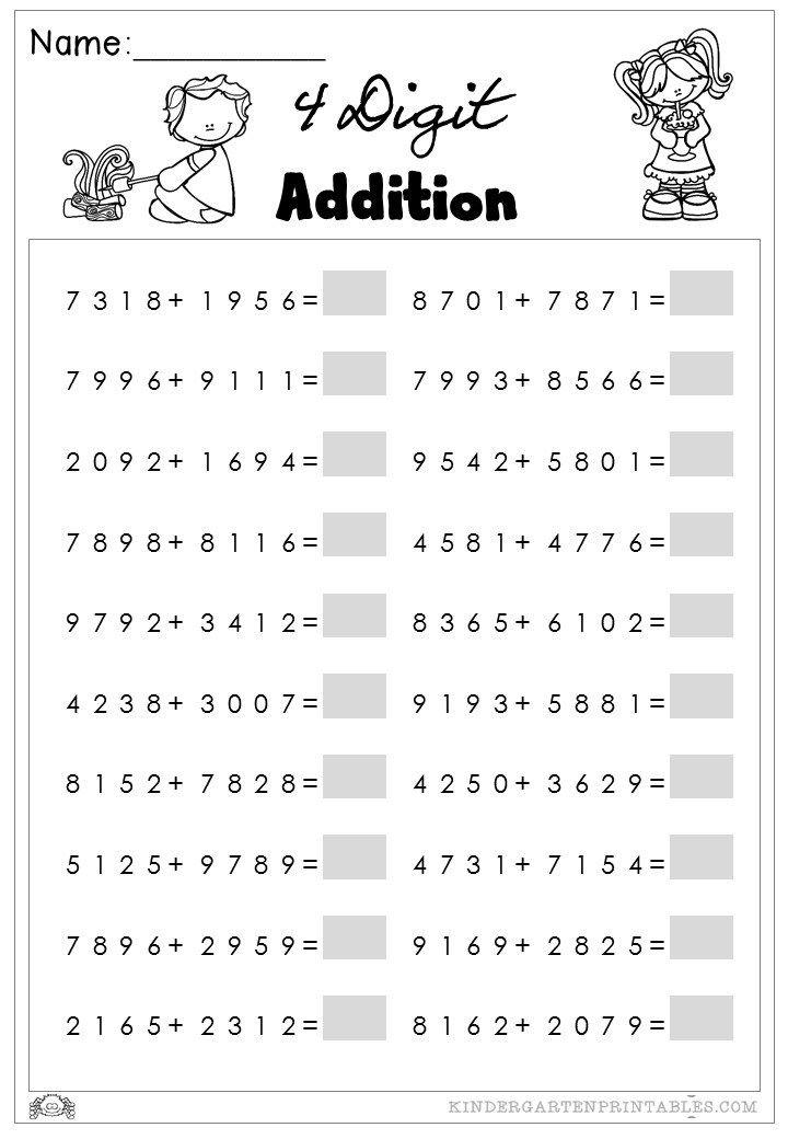 4 digit addition worksheets   Φύλλα εργασίας   Pinterest   Addition ...