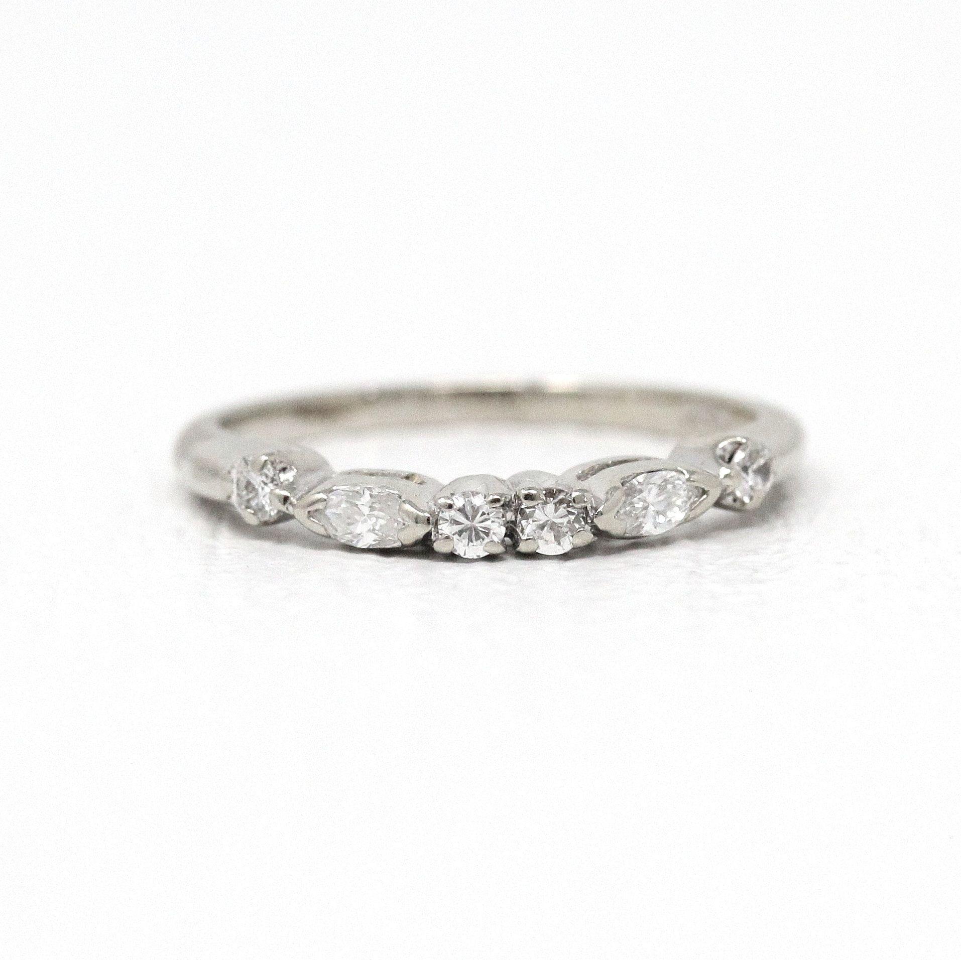 Diamond Wedding Band Vintage 14k White Gold Curved 1960s