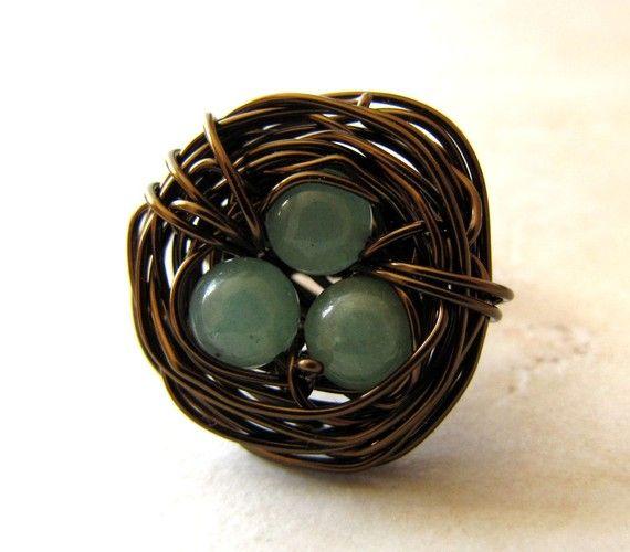 Birds Nest Ring Green Jade Bronze Wire Wrapped by LunasLuxe