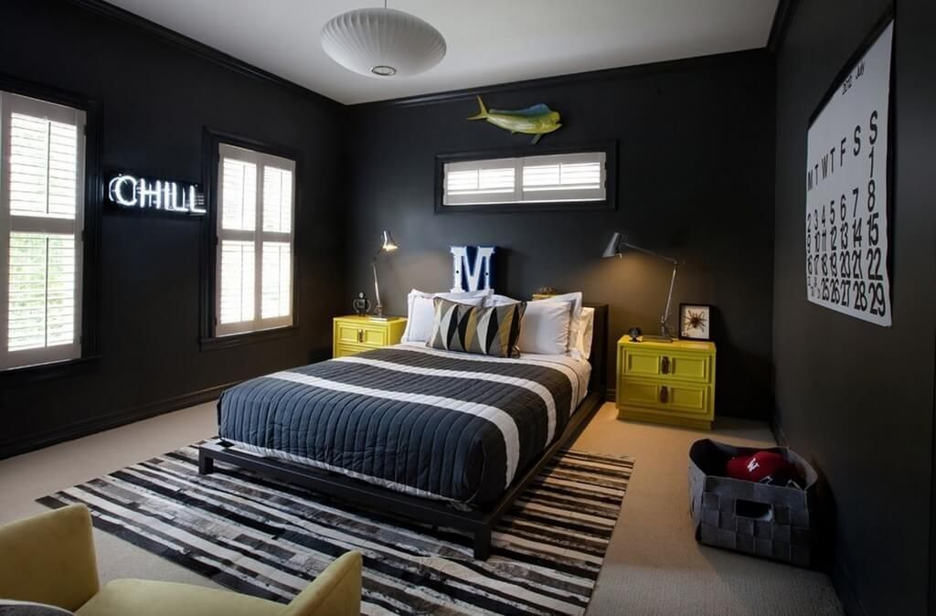 remarkable boys bedroom colors | Appealing Teenage Boy Room Decor With Dark Bedroom Wall ...