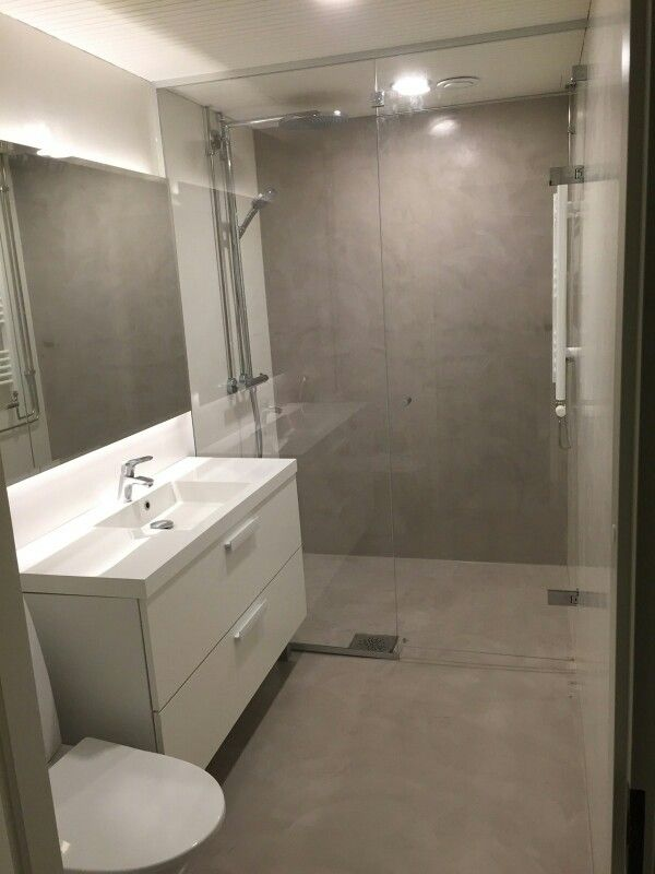 Wc Suihku Kasitelty Mikrosementilla Bathroom Remodel Shower