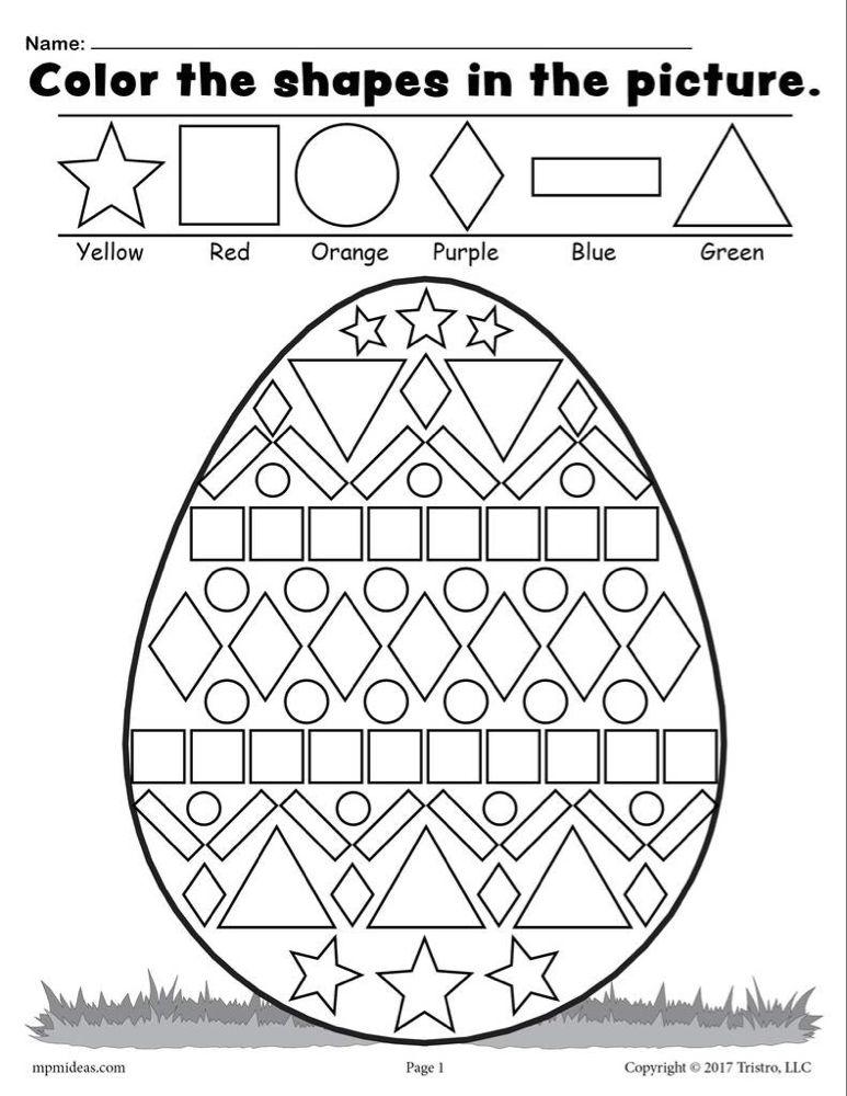 Easter Egg Shapes Worksheet & Coloring Page Boyama