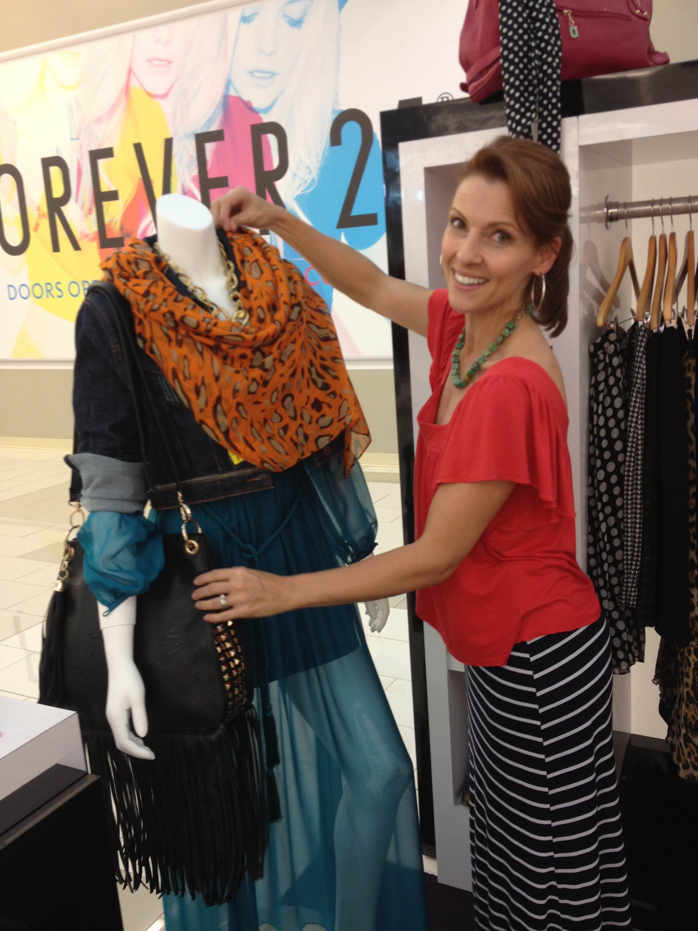 Our gorgeous LA stylist Katina Brock styling a mannequin at the @Westfield Style Lounge in Santa Anita!