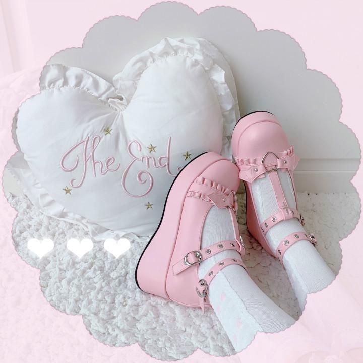 Platform Lolita Kawaii Shoes - Pink / 33