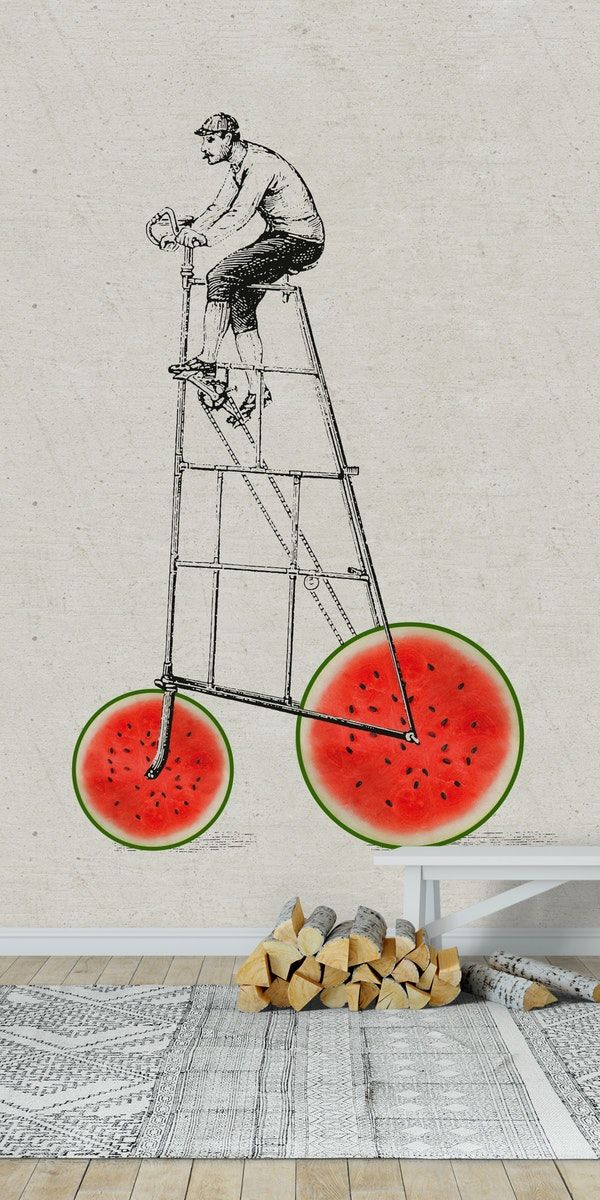 Melon bike wall mural from Happywall