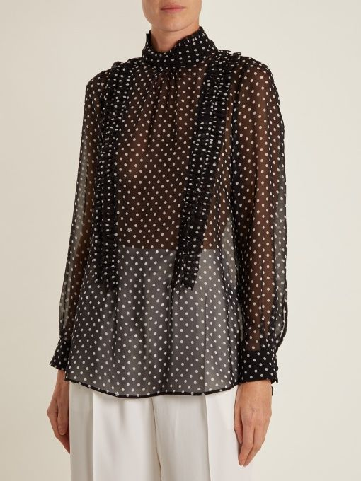 2013e8a6953256 No. 21 High-neck ruffle-trimmed silk blouse | tops | Pinterest ...