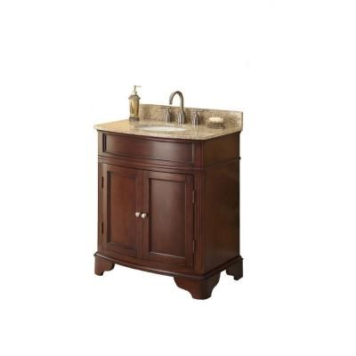 Home Decorators Collection 31 In W X 35 In H X 20 In D Vanity In Cherry With Granite Vanity Top In Beige With White Basin Md V1218 Marble Vanity Tops Granite Vanity