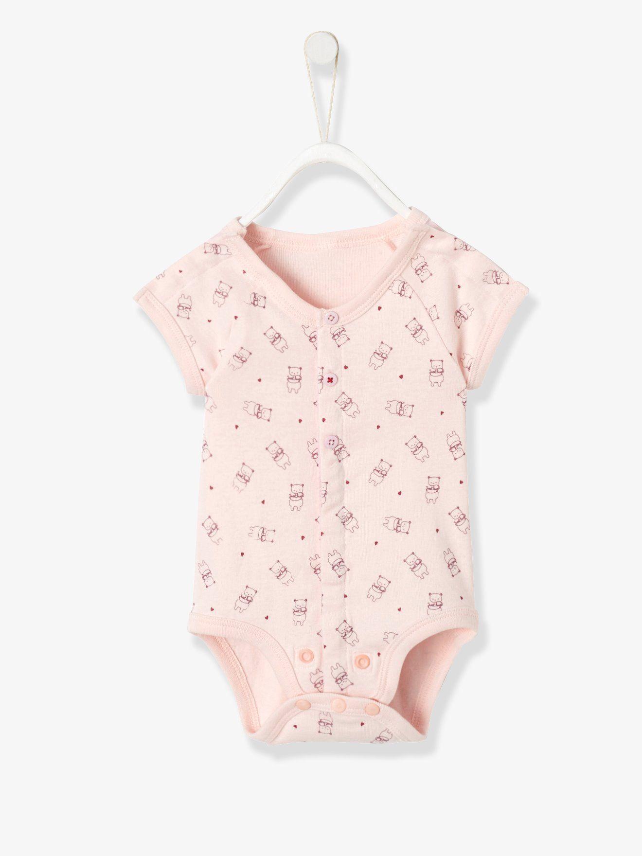 9246a0da1c58c Body bébé spécial prématuré en coton bio - eau de rose imprime ...