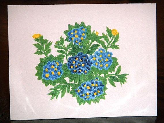 Hydrangea Flowers Notecards Set of 5 cards with by ArtcardsByAmy