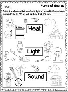 Worksheet Light Energy Worksheets For Kids forms of energy heat light sound grade 1 worksheets sound