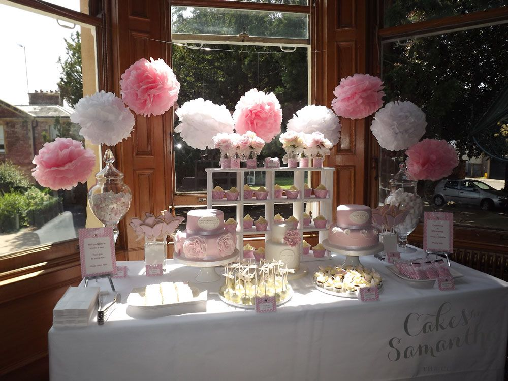 Christening Dessert Table With Images Girl Christening Decorations Christening Decorations Christening Table Decorations