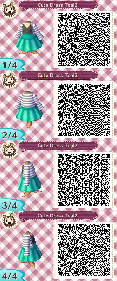 Cute Dress Teal2 Qr Code By Chibibeebee On Deviantart Animal Crossing Qr Animal Crossing Qr Codes Clothes Qr Codes Animal Crossing