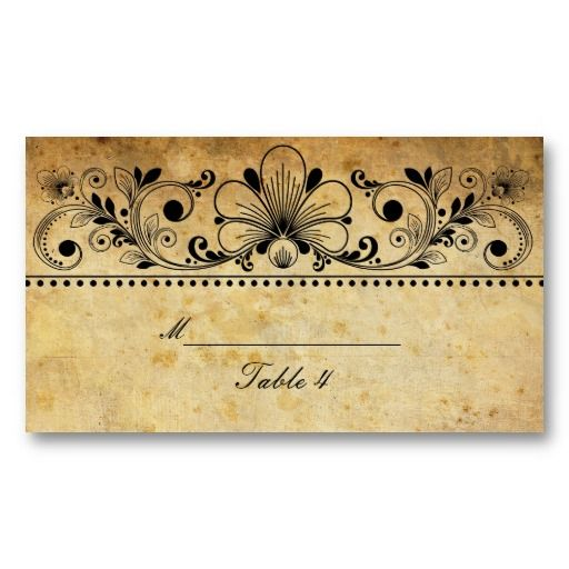 Vintage table cards template - Google Search