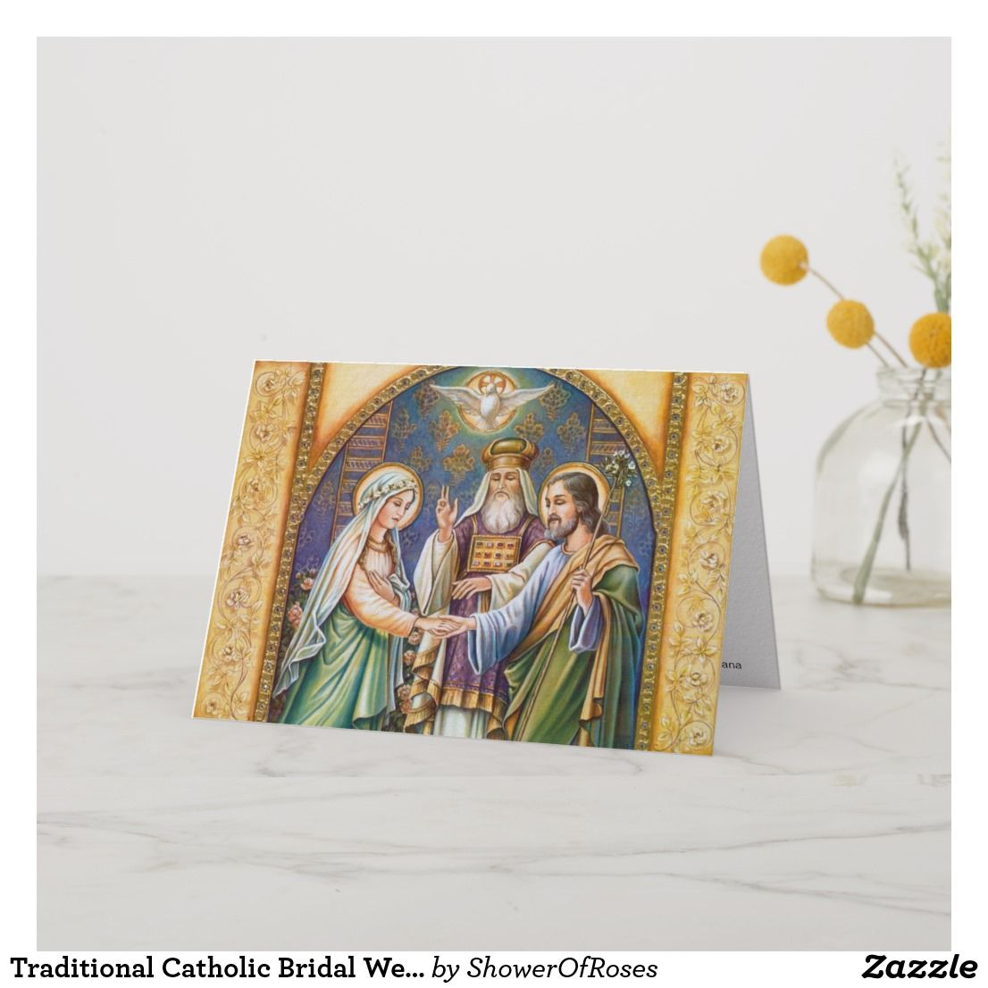Traditional Catholic Bridal Wedding Invitation