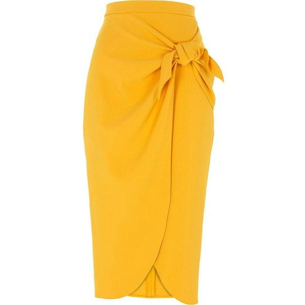 fdbec1b5ee River Island Mustard yellow tie front pencil skirt ($76) ❤ liked on  Polyvore featuring skirts, bottoms, midi skirts, women, yellow, wrap midi  skirt, ...