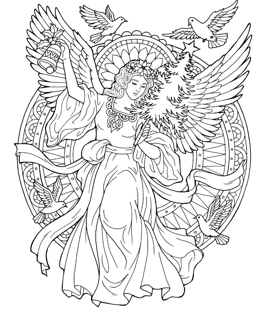 Complex Angel Coloring Page For Adults Angel Coloring Pages Free Christmas Coloring Pages Fairy Coloring Pages