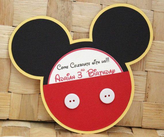 Mickey Mouse Para Imprimir De Manos Manos De Mickey Para: Invitaciones Mickey Mouse Hecho A Mano