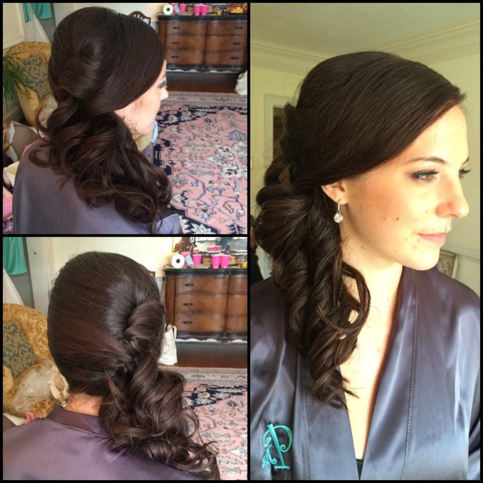 Curled side formal style on long hair stylist molly childs