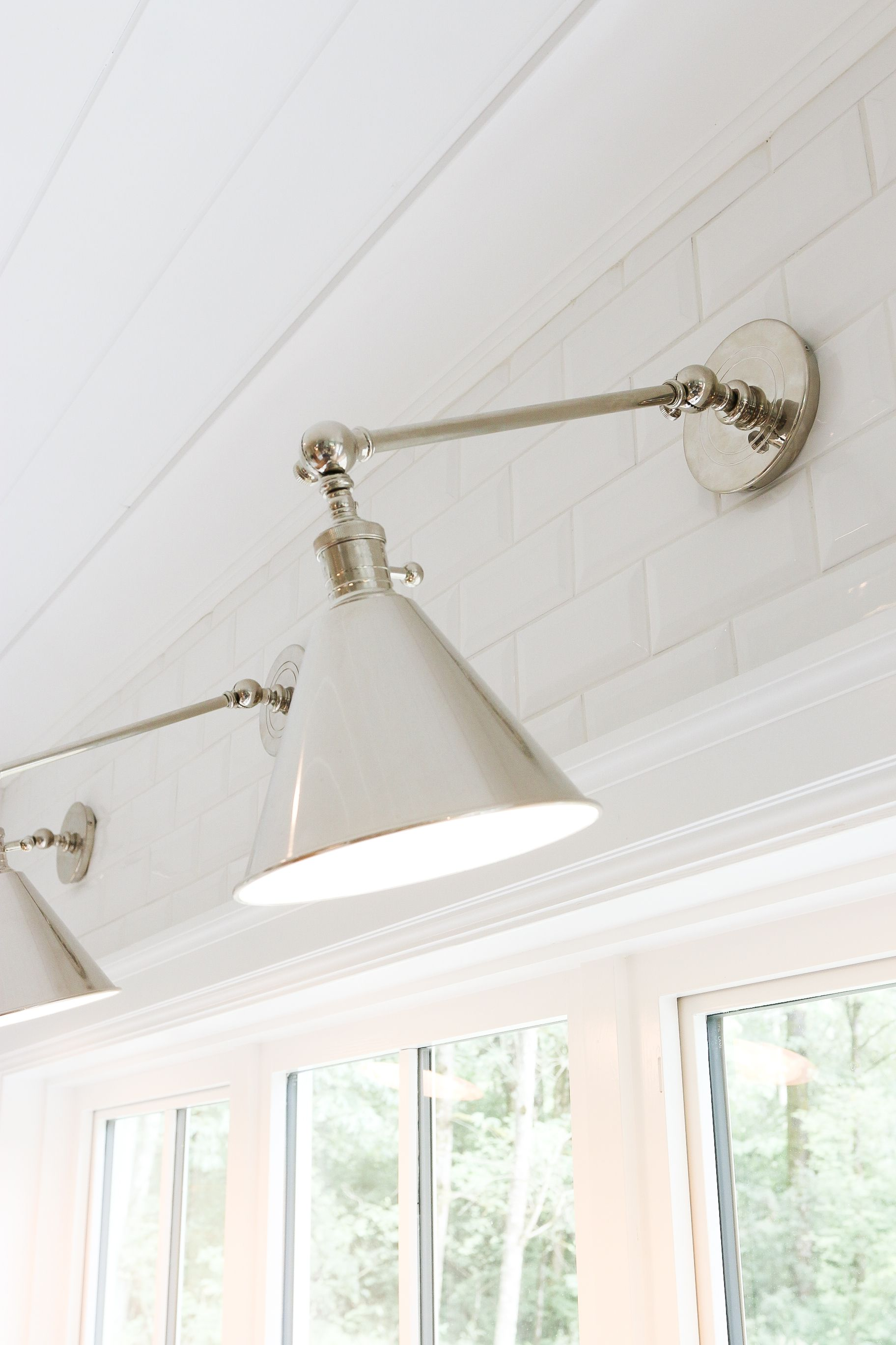 interesting bathroom light fixtures%0A Monika Hibbs   Boston Functional Single Arm Library Light by E F  Chapman  in Polished Nickel