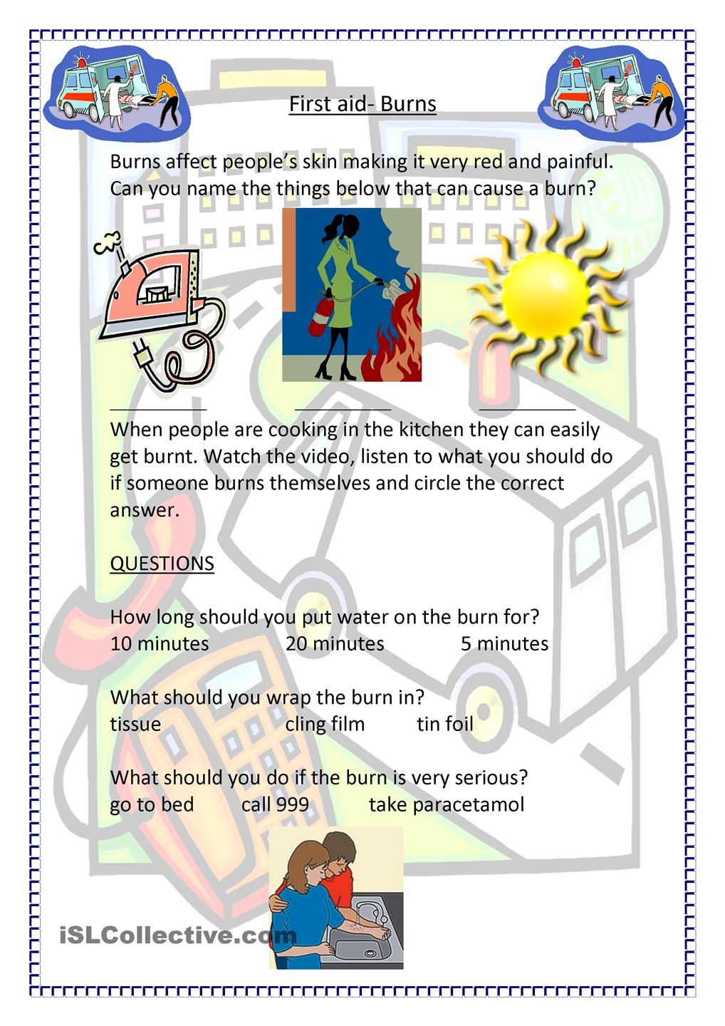 worksheet First Aid Worksheet Answers first aid burns les engels idioom medisch pinterest worksheet free esl printable worksheets made by teachers