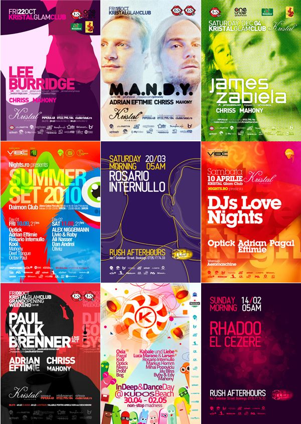 colorful flyers posters for clubbing events by alex tass design
