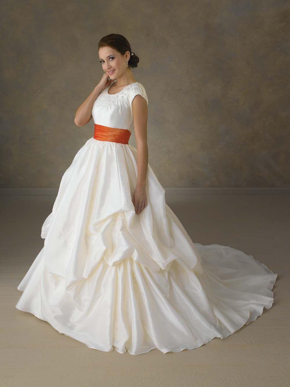 wedding dresses with orange sashes | Bonny+Wedding+Gown+with+Orange+ ...