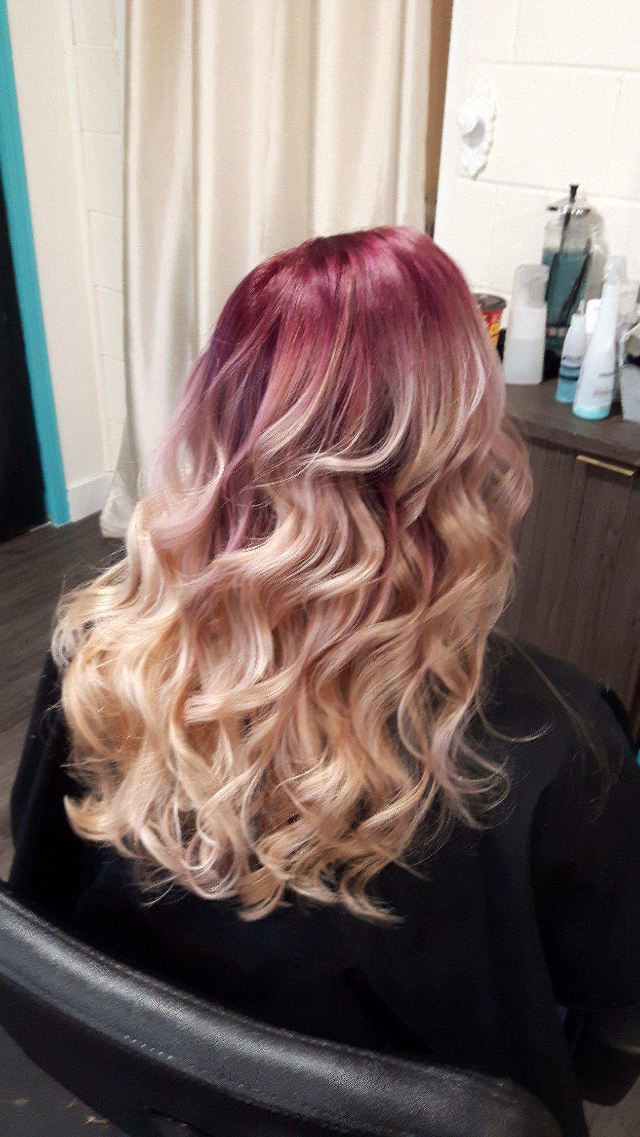 Burgundy Red Root Blonde Ends Blonde Ends Blonde Hair With Roots Blonde Hair With Purple Streaks