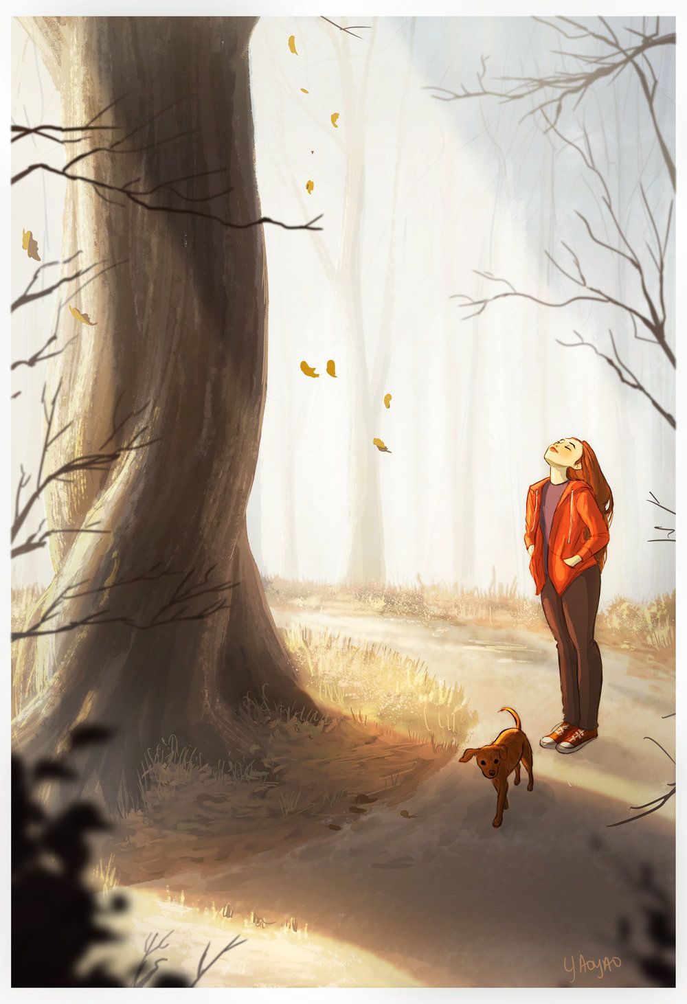 Autumn Is My Time I Am Most Radiant And Full Of Energy When The Leaves Are Falling And There Is A Ghost Of Change In The Ai Animation Art Girl And Dog
