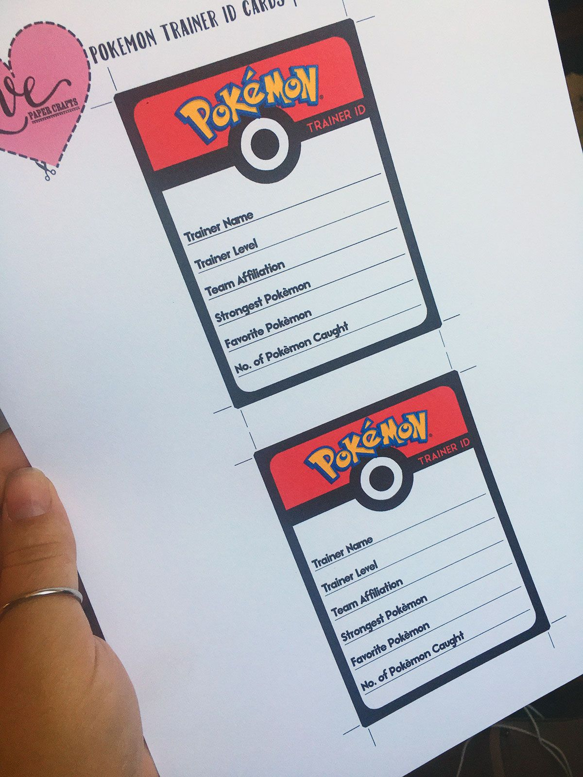 Printable Pokemon Go Trainer Id Cards