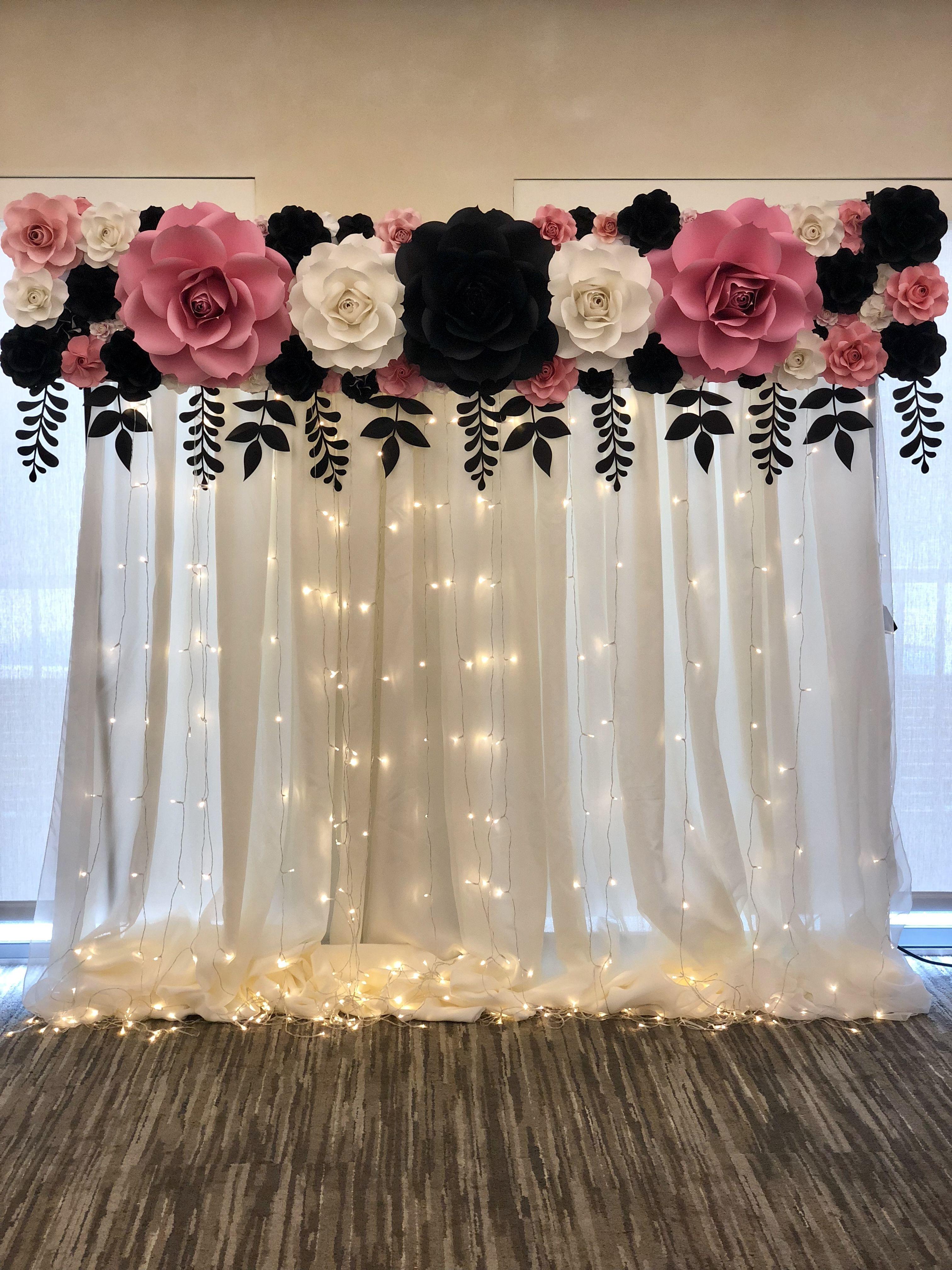 Paper Flower Backdrop Fiesta De 15 Decoracion Decoracion De