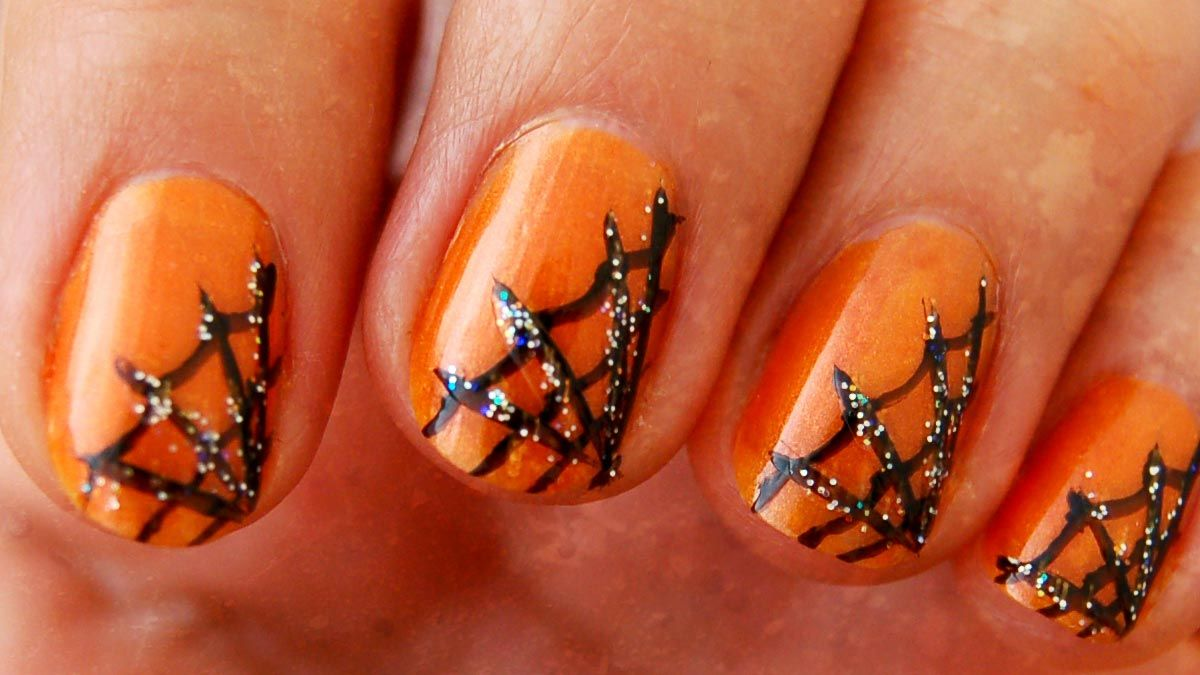 Halloween Nail Art - Spider Webs & Jack-O-Lanterns