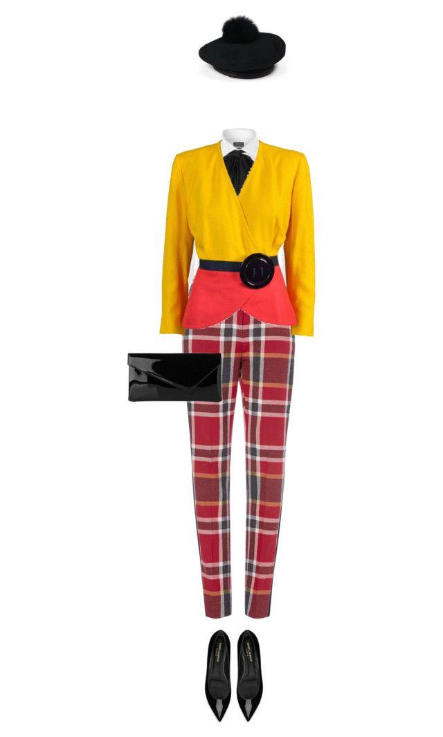 """Tartan Tuxedo Trousers & Pom Pom Baret"" by lorantin ❤ liked on Polyvore featuring Polo Ralph Lauren, L.K.Bennett, Eugenia Kim and Yves Saint Laurent"