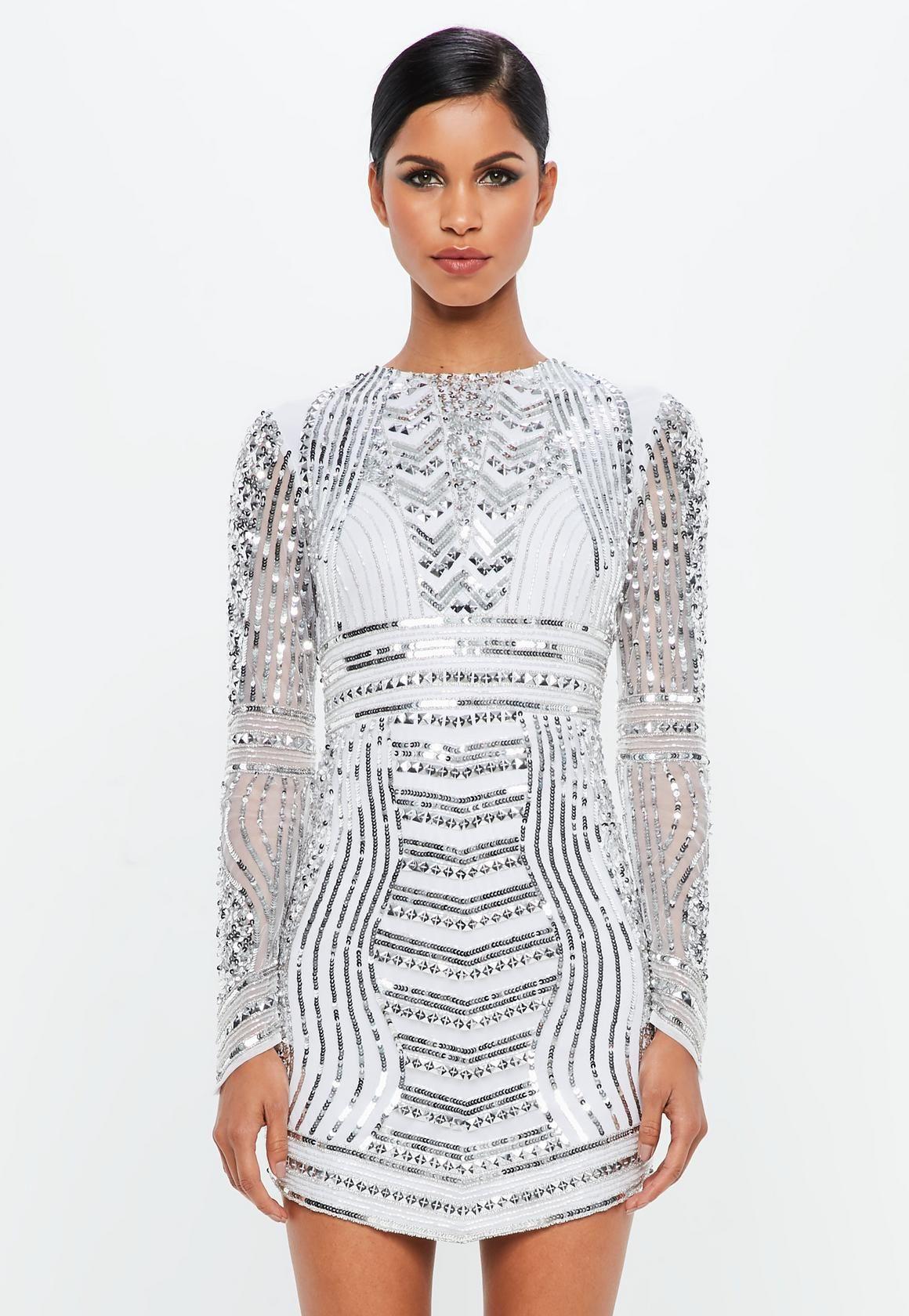 af2e176993 Missguided - Peace Love Silver Embellished Curve Hem Mini Dress ...