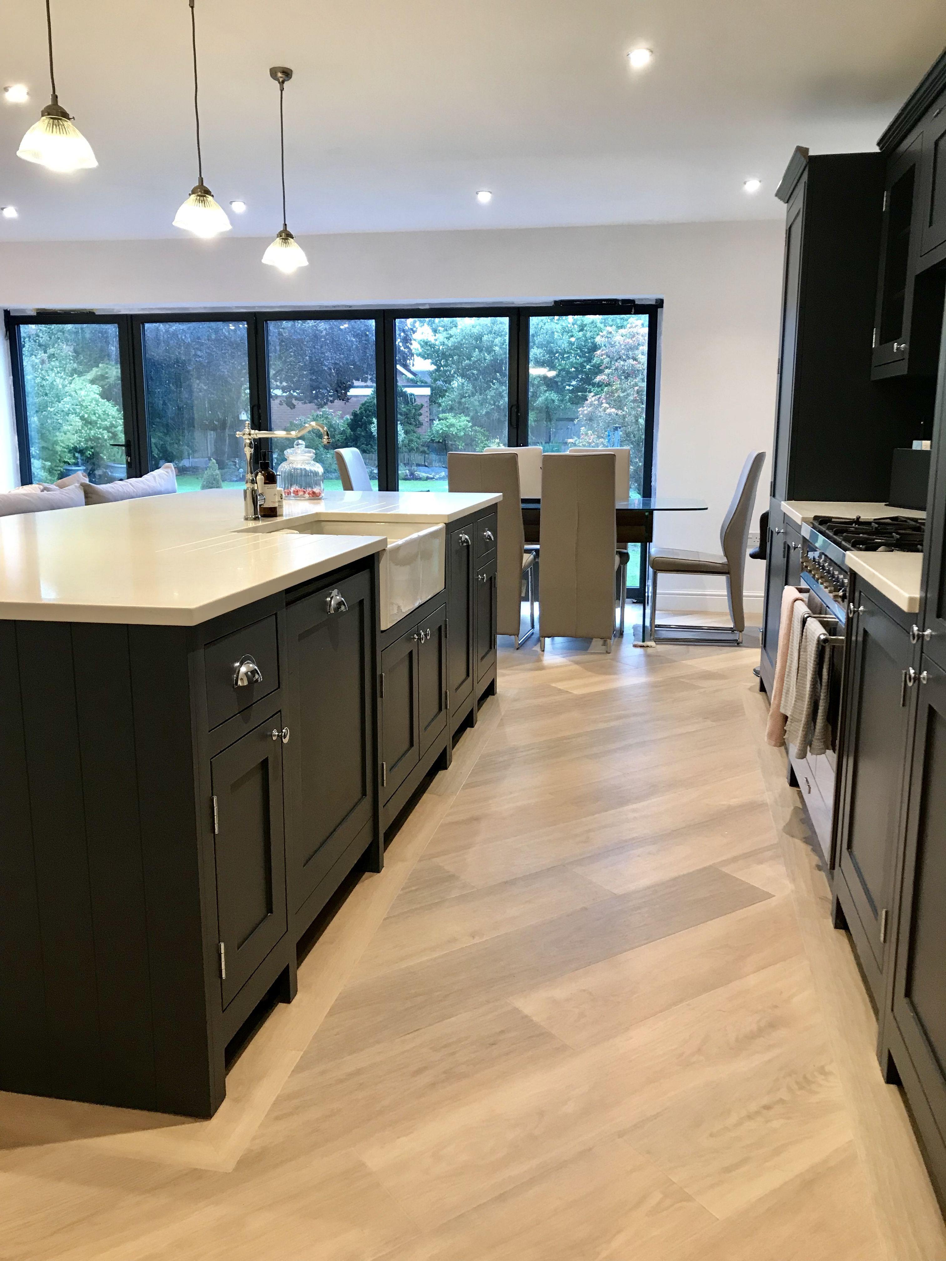 Shaker Kitchen With Island Kitchen Flooring Open Plan Kitchen Living Room Open Plan Kitchen Dining
