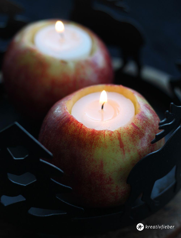 Diy apfel kerzen tischdeko mit pfeln selbermachen for Apfel basteln herbst