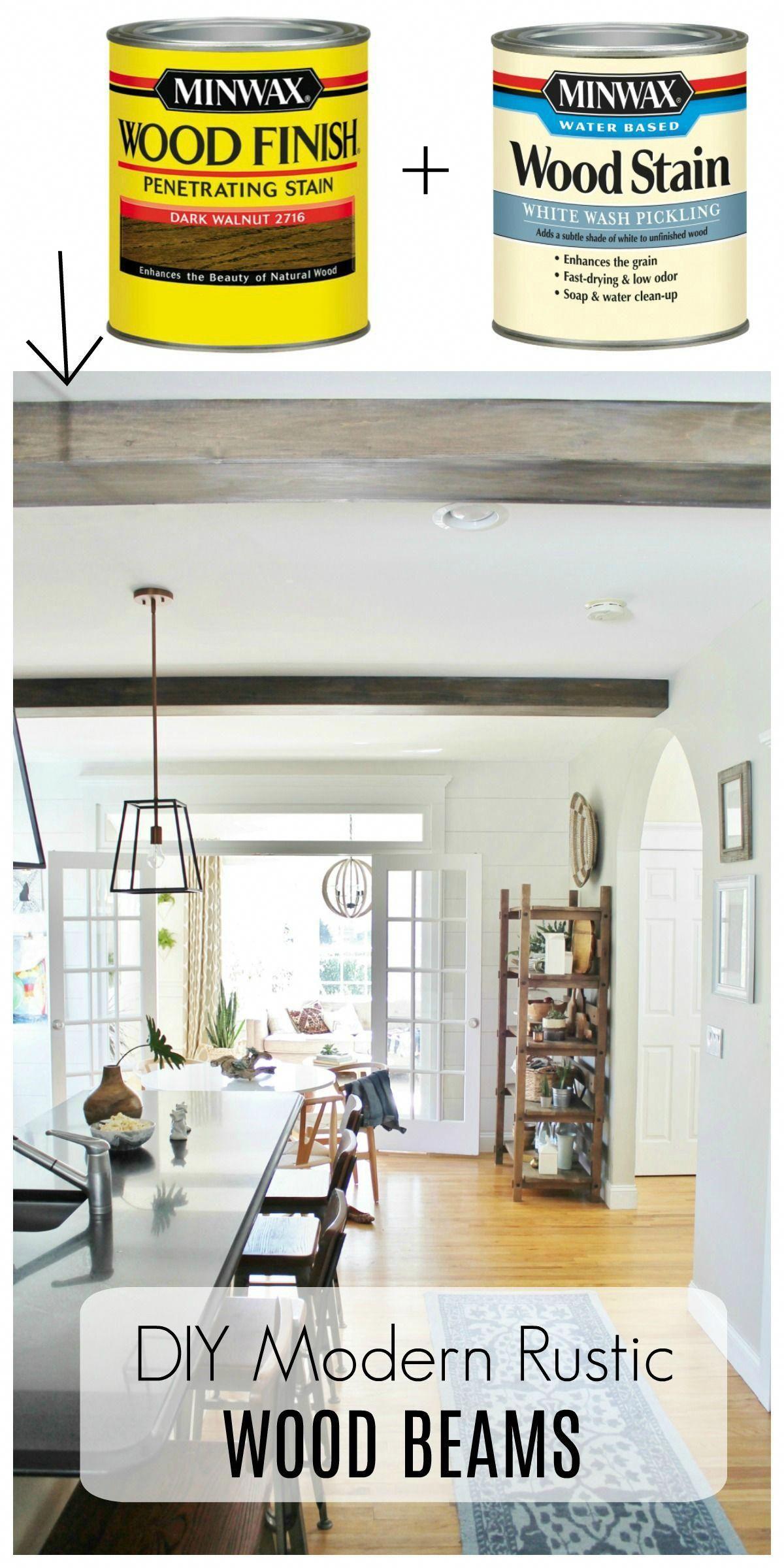 Diy modern rustic wood beams barnwood look by using minwax dark walnut white wash