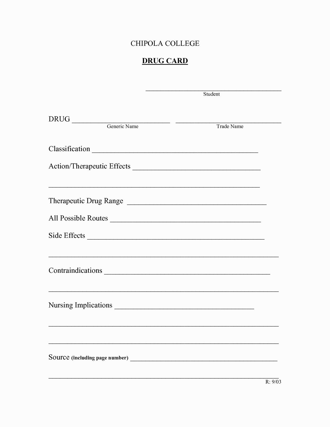 Medication Card Template Wallet For Nursing Students Drug Pertaining To Medication Card Template Cumed Org Drug Cards Nursing Students Pharmacology