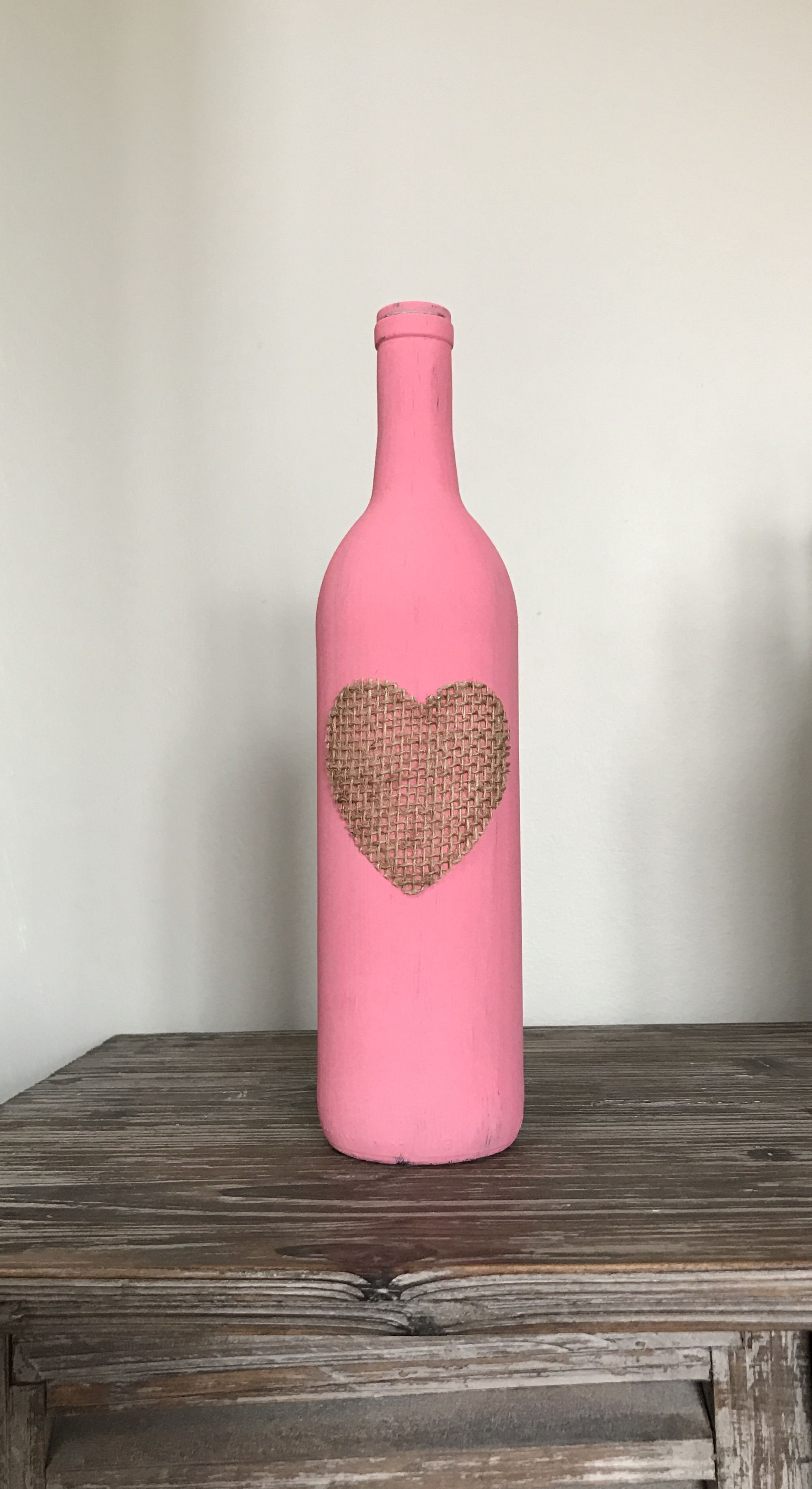 Acrylic Painted Wine Bottle Pink Burlap Heart Valentines Day Love Valentines Wine Bottle Crafts Wine Bottle Crafts Diy Wine Bottle Decor