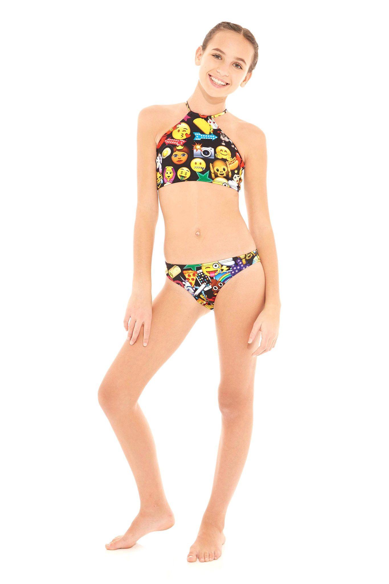 8e2ae561f25 Terez Girls Black 100% Emoji High Neck Bikini | Products | 100 emoji ...