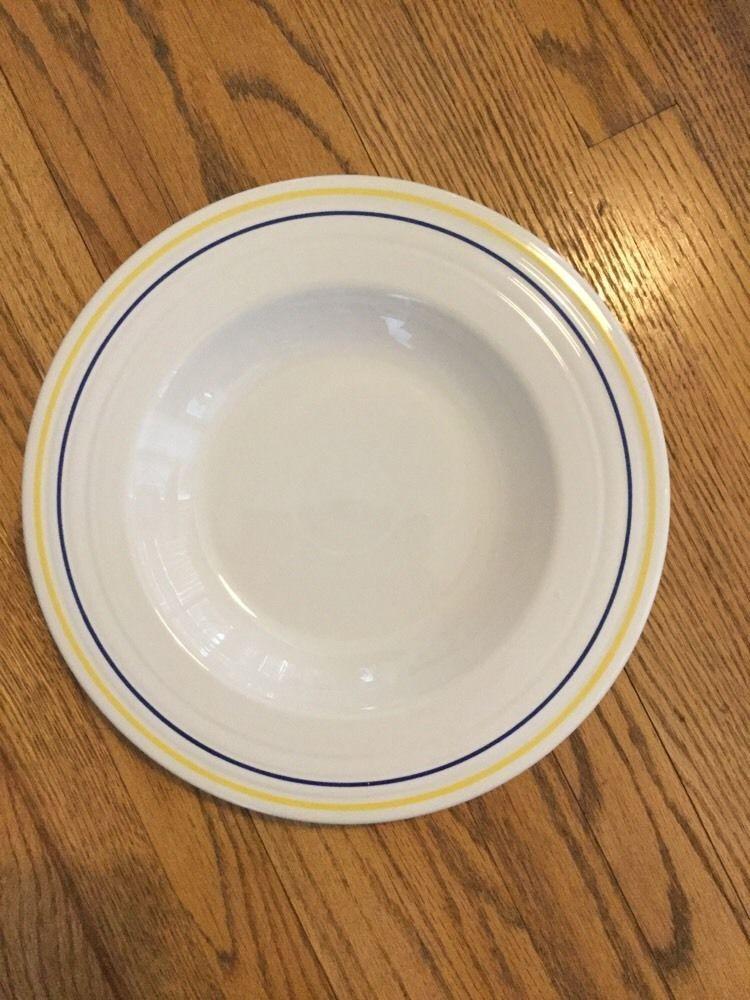 Fiesta Rare Blue Yellow Pinstripe Wide Rimmed Pasta Bowl Homer Laughlin China Ebay