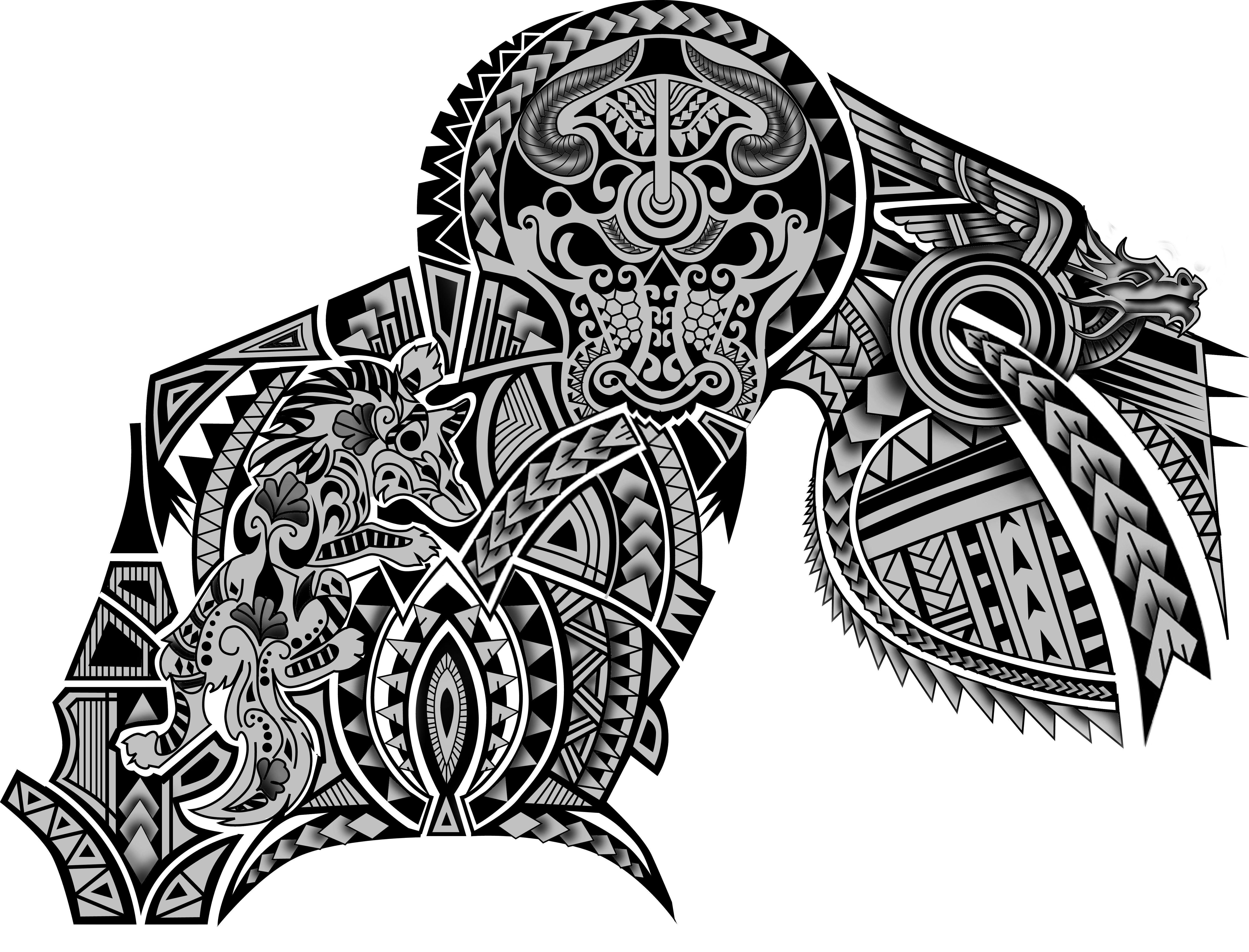 100$ Polynesian Maori Tribal Half Sleeve Chest Wolf Dragon