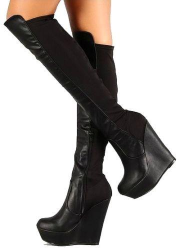 4df6c844afa Booth-08 Black Wedge Knee high Stretch #Boot Platform #Heels ...
